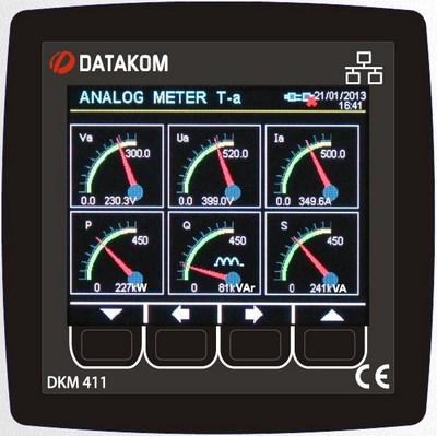 DATAKOM DKM-411 Анализатор сети, 96x96mm, Ethernet, USB-H, USB-D,RS485, RS232, I/O